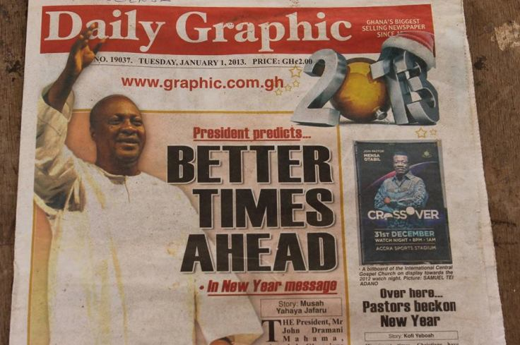 Frontpage of The Daily Graphic, 1 January 2014. Promise of the Year.