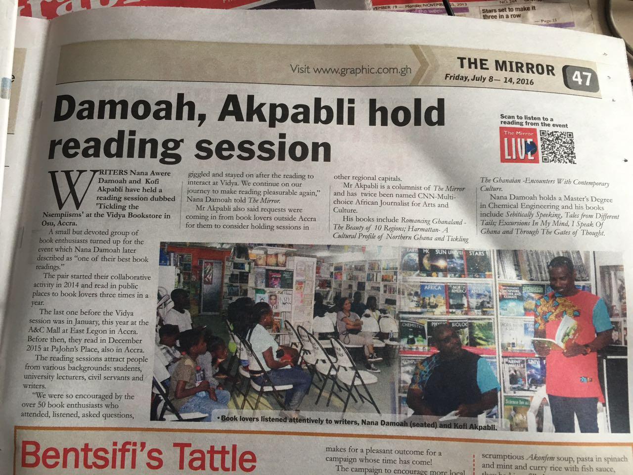 Damoah, Akpabli hold Reading Session – The Mirror – Nana A